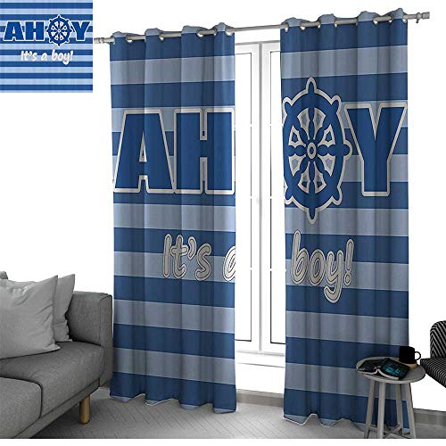 (Ahoy Its a Boy Window Treatments Draperies for Bedroom Baby Shower New Birth Announcement Marine Wheel Striped Backdrop Curtains for Bedroom Light Blue Blue White W96 x L84 Inch)