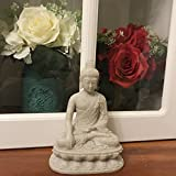 "Emaciated Buddha Statue,Sand Stone Blessing Sitting Buddha Figurine,Great for Indoor Home Decoration Gifts- 6"" High(Sand Stone)"