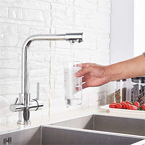 クロム水フィルタータップキッチン蛇口ミキサー飲料水フィルター3ウェイキッチン蛇口シンクタップH / C水ミキサータップ