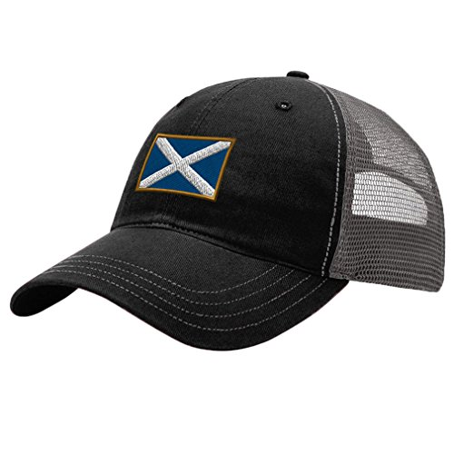 - Speedy Pros Scotland Embroidery Design Richardson Cotton Front and Mesh Back Cap Black/Charcoal