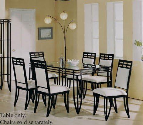 Amazon Com Acme Rectangular Dining Table With Glass Top Black Wrought Iron Furniture Decor