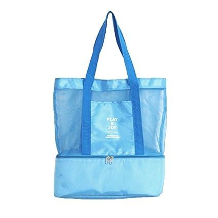 AimdonR - Bolsa de playa con maya, grande, con cremallera, compartimento refrigerante con malla, para viajes, deportes, playa, Azul