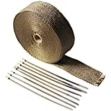 """LEDAUT 2"""" x 50' Titanium Exhaust Heat Wrap Roll for Motorcycle Fiberglass Heat Shield Tape with Stainless Ties"""