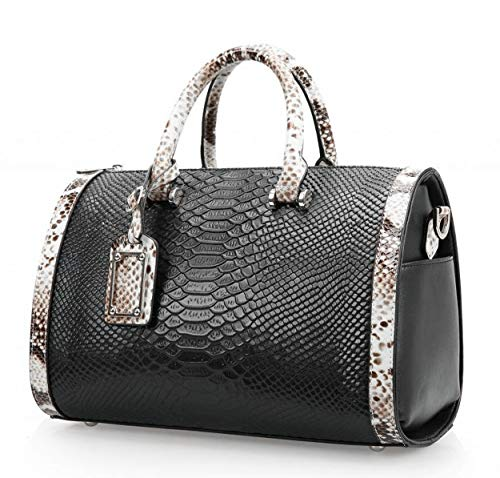 - Mn&Sue Trendy Women's Crocodile Cobra Pattern Top Handle Purse Cross Body Boston Doctor Handbag (Black)