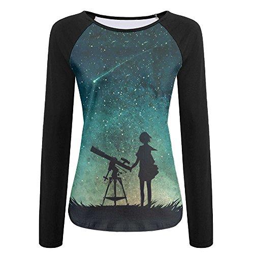 Women's Star Sky Telescope Crew Neck Baseball Tee Long Sleeves Raglan Tee Shirt Sports Uniforms Slim - Style Davis Brooke