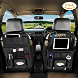 Eocean Car Backseat Protector Kick Mats, Car Backseat Organizer with Leather Foldable Dining Table Tray for Baby and 10 Storage Organizers with Tablet Holder, Organize All Kids Travel Accessories (2 Pack)
