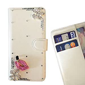 Pink Lip Crystal Diamond Waller Leather Case Cover 3D Bling For Samsung GALAXY A7 / A7000 /- THE- /