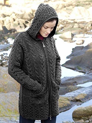 Aran Crafts Women's Merino Wool Hooded Coat XL ()