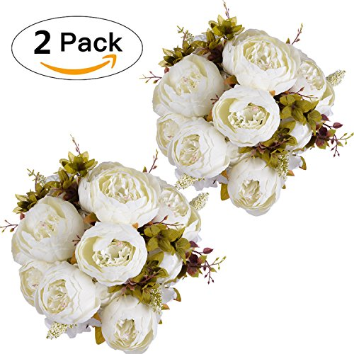 Artificial Peony Wedding Flower Bush Bouquet-GreenDec Vintage peony Silk Flowers for Home Kitchen Wreath Wedding Centerpiece Decor (White, 2 Pack) (Peony Centerpiece)