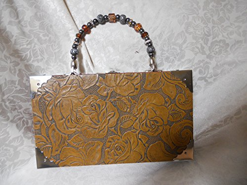 Cigarbox Purse, Floral Embossed Leather, Tina Marie Purse, Vintage Cigar Box, Gold, Charcoal