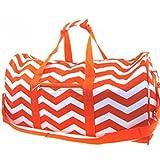 Chevron Print 22'' Canvas Duffle Bag w/ Shoulder Strap (Orange)
