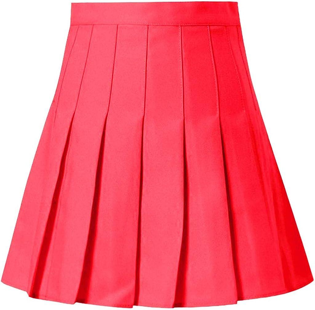 aihihe Womens Teen Girls Casual Mini Tennis Skirts Stretch Waist Flared Plain Pleated Skater Skirt High Waisted Skirt