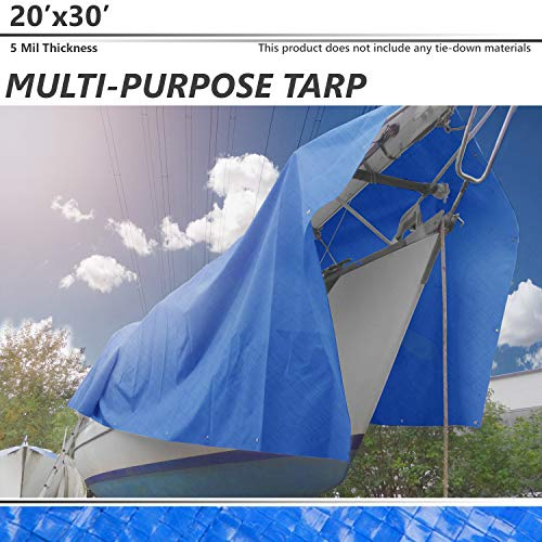 BOUYA 20' x 30' Tarp 5-mil Multi-Purpose Waterproof Reinforced Rip-Stop with Grommets, UV Resistant, for Tarpaulin Canopy Tent, Boat, RV or Pool Cover, Blue