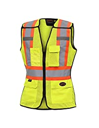 Pioneer Hi Vis Breathable 5 Point Tear-Away Women Safety Vest, Yellow-Green, L, V1023660-L