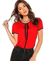 Floerns Blusa de Gasa con Cuello de Lazo y Manga Corta para Mujer, Rojo, XS