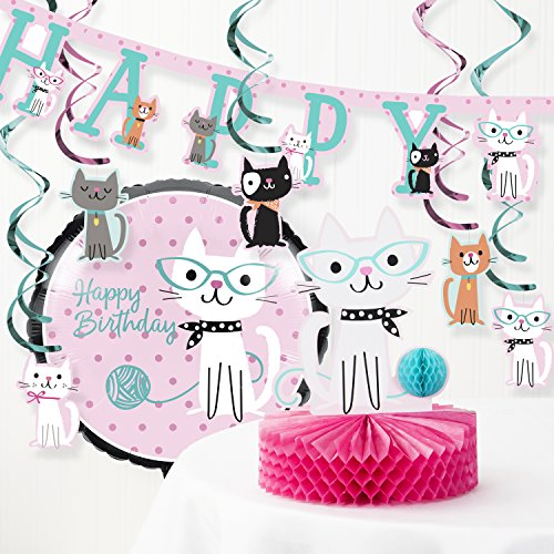 Creative Converting Purr-FECT Cat Birthday Party Decorations Kit (Party Cat)