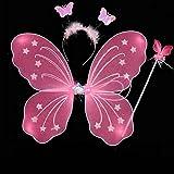 Edealing 1pcs Girls Butterfly Fairy Angel Wings Wand Headpiece Kids Tinkerbell Set Fancy Dress