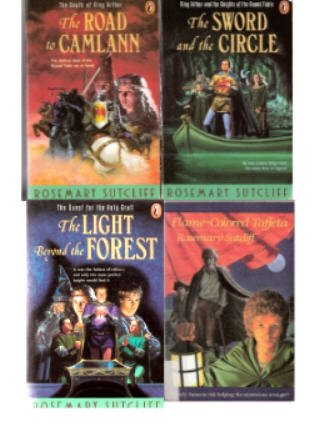 Rosemary Sutcliff Set: The Sword and the Circle + The Light Beyond the Forest + The Road to Camlann + Flame-Colored Taffeta