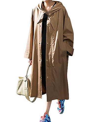 Mujeres Rompevientos Manga Larga Abrigo Encapuchado Chaqueta Larga De La Manera Trench Capa Outwear