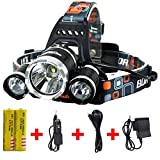 8000 lumen light - Brightest and Best 8000 Lumen Bright Headlamp Flashlight , IMPROVED LED with Rechargeable Batteries for Reading Outdoor Running Camping Fishing Walking - Waterproof Headlight