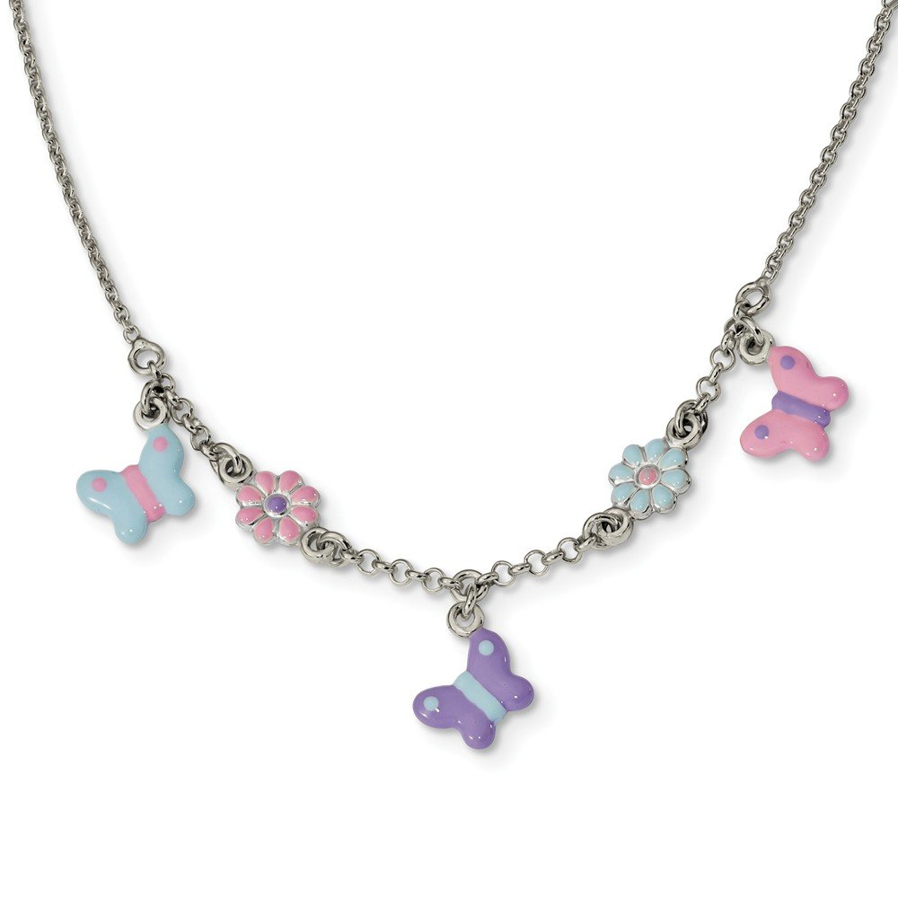 Sterling Silver Polished Enameled Floral and Butterfly Necklace 14 inches