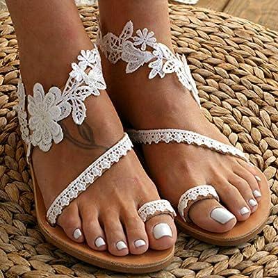 Dainzusyful Summer Sandals for Women Slip-On Flat Clip Toe Lace Floral Shoe Beach Roman Dress Sandal Shoes: Clothing