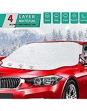 PEYOU Housse de protection contre la neige et le gel pour pare-brise de voiture, avec 3 aimants puissants, étanche à l'eau, la neige et la glace pour toutes les conditions météorologiques, convient à la plupart des voitures, SUV (147,9 × 121,9 cm)