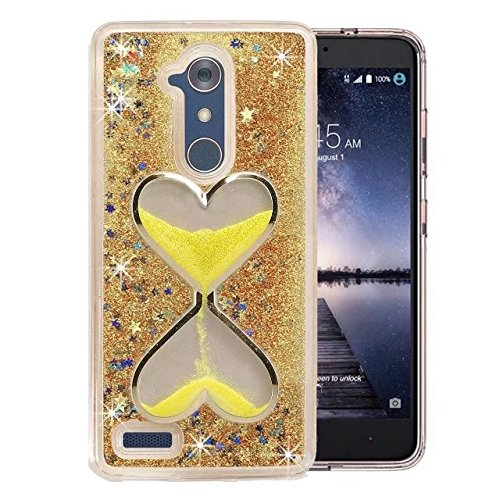 (For LG Sylo 3 (LS777) / LG MP450 / LG TP450 / LG Stylo 3 Plus Case, GREENTING Bling Liquid Glitter Quicksand Hybrid Rubber TPU Case Cover (Gold with Funnel))