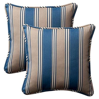 Pillow Perfect Decorative Striped Toss Pillow, Square, Blue/Tan - Includes two (2) outdoor pillows, resists weather and fading in sunlight; Suitable for indoor and outdoor use Plush Fill - 100-percent polyester fiber filling Edges of outdoor pillows are trimmed with matching fabric and cord to sit perfectly on your outdoor patio furniture - living-room-soft-furnishings, living-room, decorative-pillows - 51wG9Iros7L. SS400  -