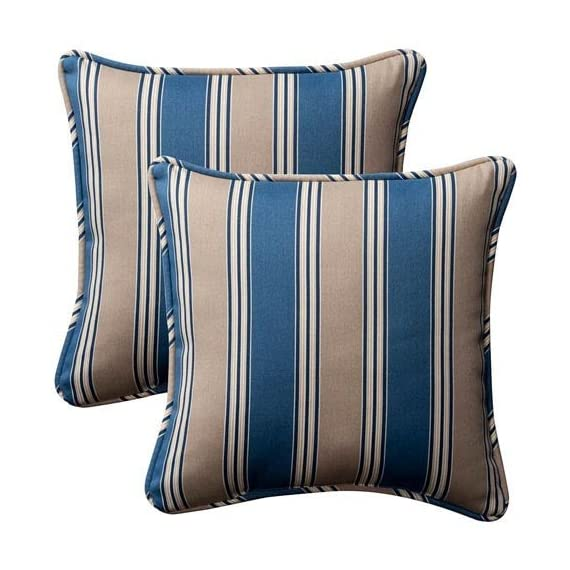 Pillow Perfect Decorative Striped Toss Pillow, Square, Blue/Tan - Includes two (2) outdoor pillows, resists weather and fading in sunlight; Suitable for indoor and outdoor use Plush Fill - 100-percent polyester fiber filling Edges of outdoor pillows are trimmed with matching fabric and cord to sit perfectly on your outdoor patio furniture - living-room-soft-furnishings, living-room, decorative-pillows - 51wG9Iros7L. SS570  -