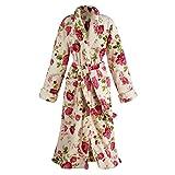 Women's Plush Floral Long Cozy Wrap Bathrobe - Soft Thick Comfortable - Xl