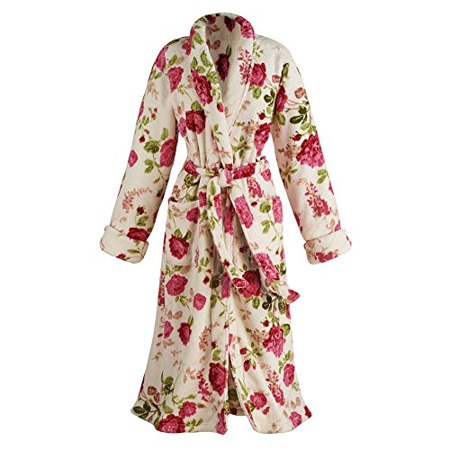Women's Floral Print Long Cozy Wrap Bathrobe - Shawl Collar Patch Pockets - Large ()
