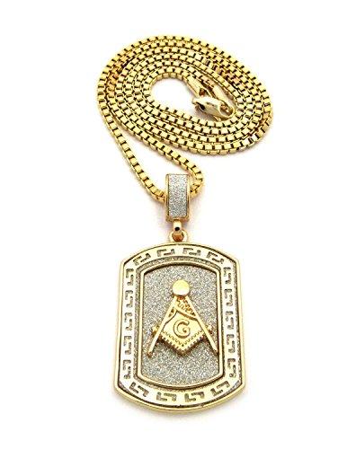 MENS FREEMASONS MASONIC ILLUMNIATI ID DOG TAG PENDENT CHAIN NECKLACE (Gold)]()