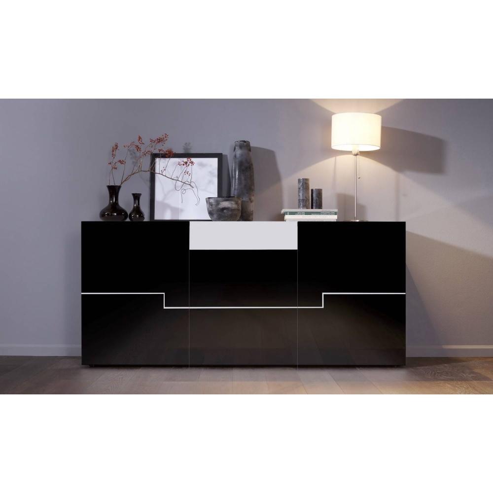 Sideboard kommode twin schwarz hochglanz / weiss: amazon.de: küche ...