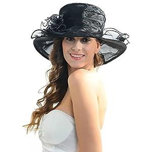 IL Caldo Women's Fascinator Flowers Wide Brim Gauze Hat Headdress Kentucky Derby Church Dress Sun Hat