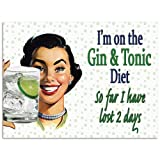 Gin and Tonic Diet Lost 2 Days Funny Metal Sign 16 x 12