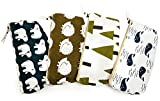 iSuperb Set of 4 Cotton Linen Cloth Pen Bag Pencil Case Bag School Stationery Organizer Cosmetic Makeup Bag Pouch Handbag 7.7x3.3x1.4inch (Forest and Animals)