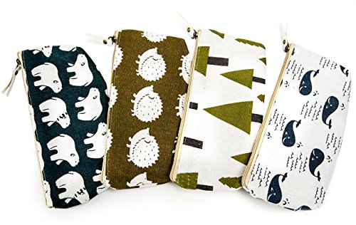 iSuperb Set of 4 Cotton Linen Cloth Pen Bag Pencil Case Bag School Stationery Organizer Cosmetic Makeup Bag Pouch Handbag 7.7x3.3x1.4inch (Forest and Animals) by iSuperb