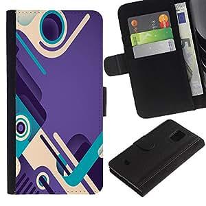 WonderWall (No Para S5) Fondo De Pantalla Imagen Diseño Cuero Voltear Ranura Tarjeta Funda Carcasa Cover Skin Case Tapa Para Samsung Galaxy S5 Mini, SM-G800 - trullo púrpura bucle zapatos de diseño abstracto