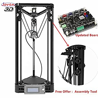 2018 Updated Version Auto Leveling Pulley Version Kossel Delta 3D Printer Unassemble Delta Rostock 3D Printer DIY Kit Large Print Size/Black Color/Free Offer with Test Filament and Assemble Tool