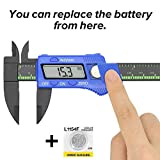 Illumifun Digital Caliper 6 inch Measuring Tool Plastic Electronic Vernier Caliper with Large LCD Screen, 0-6 Inches/0-150 mm Conversion Auto Off Featured(Blue)