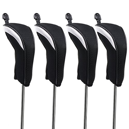 Hipiwe Golf Hybrid Club Head Covers Set 4pcs Club Irons Headcovers with Interchangeable No. ()