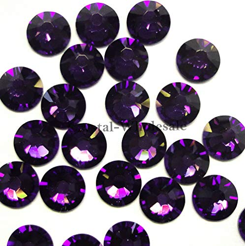 BeadWholesaler Swarovski 2028 Foiled Flatbacks SS34 Purple Velvet No Hotfix Rhinestones, Choose Quantity (144)