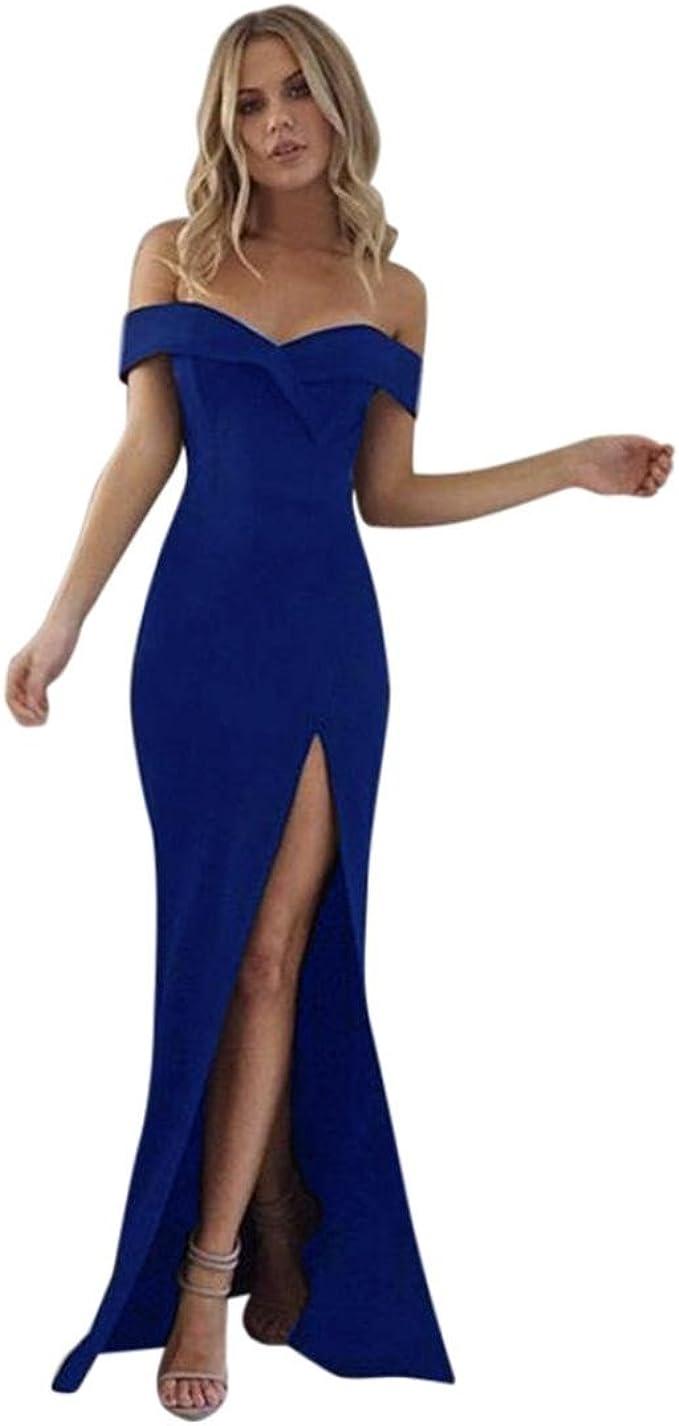 Sommerkleider Damen Longra Damen Lang V-Ausschnitt Kleid Boho Maxikleid Off  Shoulder Abendkleid Strandkleid Elegant Ärmellos Party Kleider Hochzeit