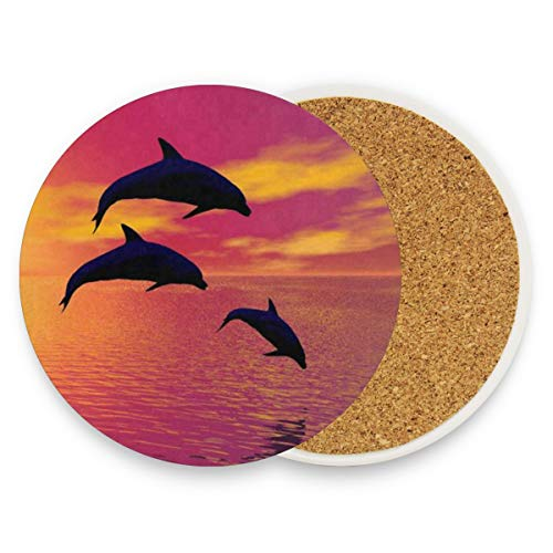 LoveBea Dolphin Jumping The Sea Coasters, Protection for Granite, Glass, Soapstone, Sandstone, Marble, Stone Table - Perfect Wood Coasters,Round Cup Mat Pad for Home, Kitchen Or Bar Set of 2