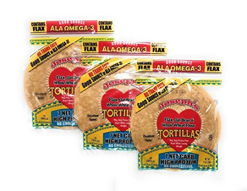 Value 3 Pack: Joseph's Low Carb Tortillas, Flax, Oat Bran & Whole Wheat, 8 Inch, 6 Tortillas