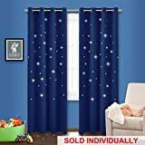 NICETOWN Star Blackout Window Curtain - Outer Space Galaxy Stary Night Nursery/Kid's Room Drape with Laser Cutting Stars for Bedroom (1 Panel, 52 x 95-Inch, Royal Navy Blue)