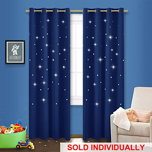 NICETOWN Star Blackout Window Curtain - Outer Space Galaxy Stary Night Nursery/Kid's Room Drape with Laser Cutting Stars for Bedroom (1 Panel, 52 x 95-Inch, Royal Navy Blue) -