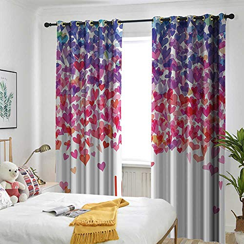 one1love Love Indoor/Outdoor Curtains Hearts and Love You Message Romantic Valentines Day Inspired Springtime Cheerful Art Great for Living Rooms & Bedrooms 84