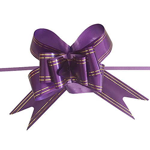 Ecago 100pcs Gift Ribbon Birthday Wedding Home Festive Party Decoration Packing Pull Bow Ribbon Flower Accessories Supplies 5x70cm (Purple) S791